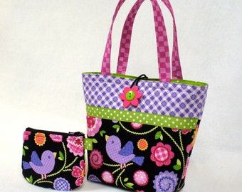 Cute Little Girls Purse Set Mini Tote with Coin Purse Pretty Bird Gingham Rick Rack Flowers Purple Pink Lime Green BlackMTO