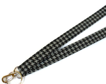 Mens LANYARD Breakaway Lanyard ID Badge Holder ID Clip Key Ring Fob Fabric Lanyard Black Gray Houndstooth