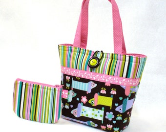 Cute Doxie Little Girls Purse Coin Purse Set Pastel Dachshund Dogs Fabric Mini Tote Bag Childs Purse Kids Bag Orchid Pink Lime Aqua MTO