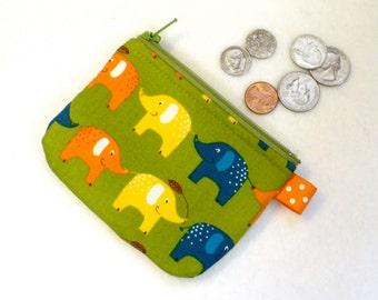 Cute Colorful Elephants Mini Coin Purse Elephant Parade Mini Change Purse Little Zipper Coin Purse Green Orange Yellow Blue Handmade