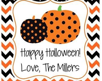 Polka Dot Pumpkin Sticker, Gift Tag, or Address Label - Set of 24