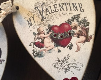 Valentines Banner, Victorian style Hearts with red crystal rhinestones and die cut hearts.