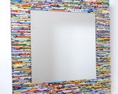 colorful square mirror, wall art- made from recycled magazines, blue, green, red, purple, pink, yellow, orange
