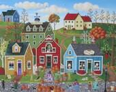 Pumpkins on Pebble Lane ORIGINAL Folk Art Painting by Kim Leo~Free Shipping