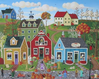 Autumn Folk Art Pumpkins on Pebble Lane ORIGINAL Painting by Kim Leo~Free Shipping