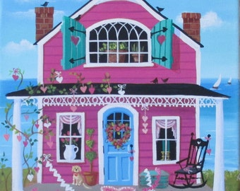 Paper Hearts Cottage Folk Art Print