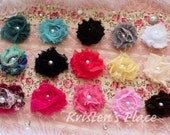 Shabby Flower Baby Bows- Set of 15 - Flower Hair Clips - Boutique Baby Bows- Perfect Starter Set- Baby Gift - Non Slip Bows