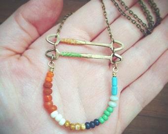 Long Folk Curve Bar Necklace Multi-Colored Beaded ~ Nina.