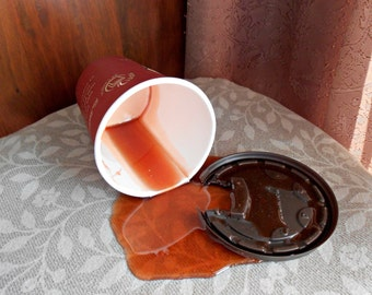 Fake Spilled Cup of Black Coffee in a Timmys Cup Fun Prop Gag