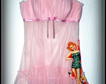 Pin up Girl Pink Baby Doll Lingerie