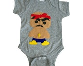 Hip Hop Baby Baby Bodysuit - Rad Rapper - Red Bandana - Gray Rap Infant Bodysuit