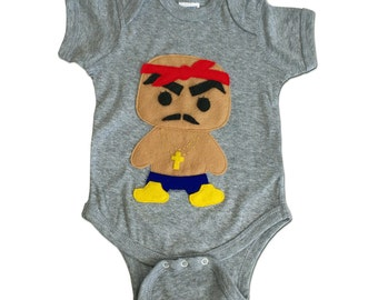 Hip Hop Baby Onesie- Rad Rapper - Red Bandana - Gray Rap Infant Bodysuit