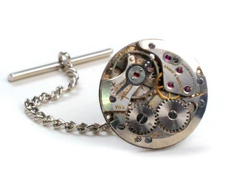 Steampunk Vintage Baume and Mercier Watch Movement Tie Tack Pin Chain Clip