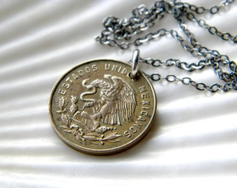 Sterling silver necklace with genuine Cinco Centavos coin - 1965 - handmade jewelry