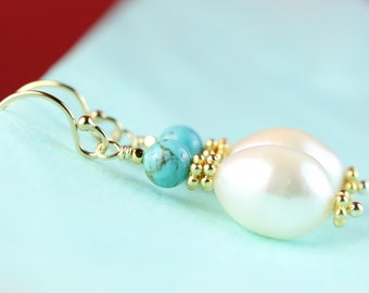 Pearl with Turquoise earrings by art4ear, Gold filled hooks, Pearl and turquoise jewelry, December birthday, Free shipping in Canada, drop