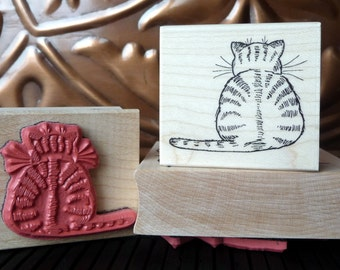 Cat with Cat-itude rubber stamp from oldislandstamps