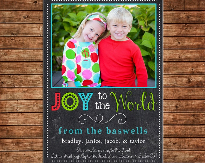Photo Picture Christmas Holiday Card Chalkboard Chalk Joy to the World - Digital File