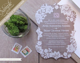 SAMPLE SALE: Burlap & Lace Ornate Die Cut Wedding Invitation / Paper Sample Pack / Color Chart - FREE Shipping