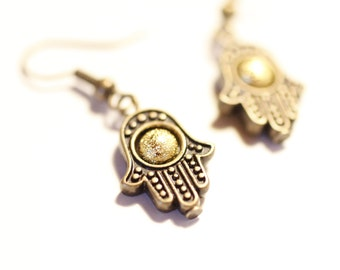 Hamsa, short earrings, gold, bronze, stardust, Judaica, Israel, Arabic, Hand of Fatima, Marrakesh, Boho, חמסה