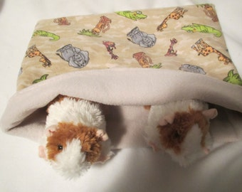 XL Snuggle Pouch/Cuddle Sack for Small Animals 13 X 15 in Fleece and Flannel Reversible