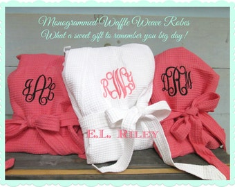 13 Monogrammed Robes, Personalized Bridesmaids Gift, Bridesmaid Robe, Personalized Waffle Robe