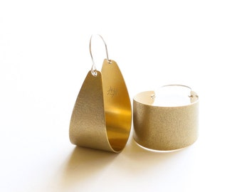 "Lovely handmade brass earrings textured and oxidized for a modern look, built durable yet lightweight - ""Brass Scoop Earrings"""
