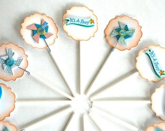 It's a Boy Banners and Pinwheel Cupcake Toppers. Baby Shower Decorations. Baby Shower Centerpiece. Baby Boy. Blue Paper Pinwheels. Food Pick