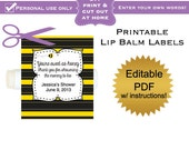 DIY editable printable lip balm labels (No.11) bee baby shower favors or bridal PDF Digital File