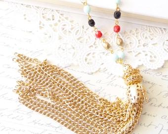 Long Beaded Tassel Necklace - Gold Tassel Necklace - Cubic Zirconia Beaded Necklace - Long Gold Tassel - Bohemian Style