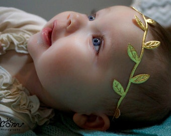 Gold Leaf Headband, Grecian Goddess Headband, Gold Hair Bow, Gold Headband, Baby Headband Newborn Headband Boho Headband