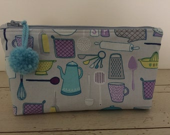 Kitschy Kitchen Theme Flat Bottom Bag in Blue, Purple & Grey- Makeup Bag - Supply Bag - Origanization Bag - Bridal Shower Gift - Pencil Case