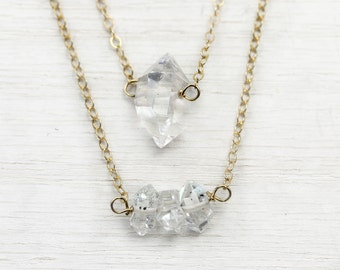 Gold wrapped mini herkimer diamond layering necklace