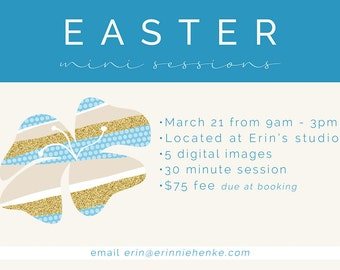 Fun Floral Easter Mini Session Photoshop Template with Facebook Cover Photo