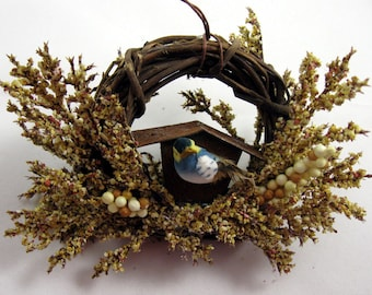 Bird and Rustic Birdhouse Christmas Ornament 901