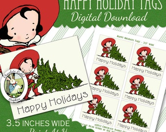 Happy Holiday Christmas Tags Printable Digital Download Vintage Style Christmas Tree Label Clip Art Scrapbook Image Sheet