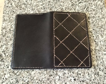 Handmade Stitched Leather Field Notes Cover with Shelterwood