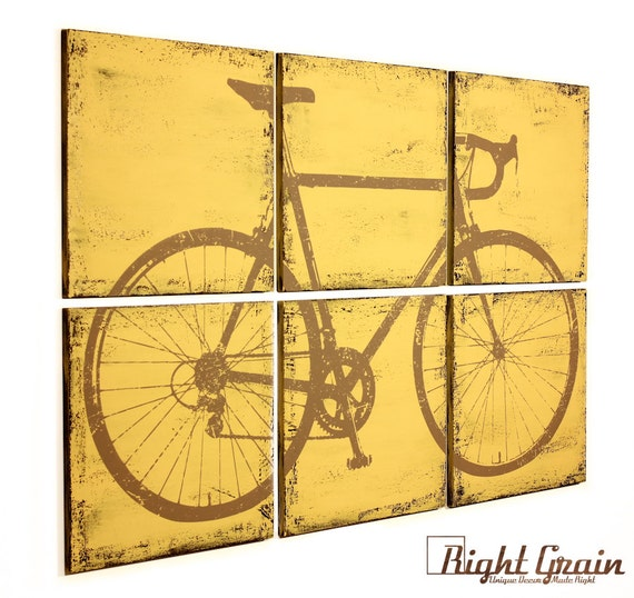Vintage bicycle painting large custom made bike artwork for Bicycle painting near me
