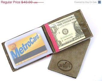 CLEARANCE SALE 50% OFF Credit Card Wallet, Credit Card Holder, Metro Card Case, Gift For Him, Gift For Her - in Hot Pink (No. 494)