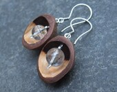 RESERVED - Macadamia  Quartz earrings. Unique seed pod & crystal jewelry handmade in Australia - natural jewellery