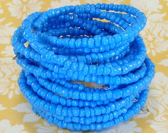 6 Turquoise Blue Bracelets Set Stretch Beaded Bangle Memory Wre Bulk Bracelets Party Favor Bridesmaid Gift Valentine's Day Best Friend Gift