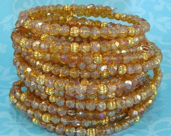 6 Bracelets Iridescent Topaz Crystal Bangle Set Faceted Fire Polish Gold Bead Memory Wire Stocking Stuffer Party Favor Gift Bulk Bracelets