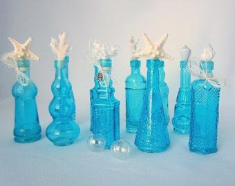 Beach Decor Nautical Shell Decorative Bottles in Aqua, Set of 10 w Coral, Starfish