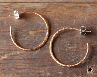 medium classic rose gold hammered hoops