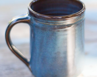 16 oz Handmade Ceramic Mug -- Twilight (Blue )-- Hand crafted pottery-- Large hand thrown coffee, cocoa mug. , Blue and Brown