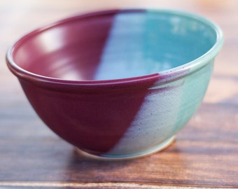 "9"" Handmade Bowl-- Aqua Blue and Raspberry Red -- Hand crafted pottery--  Large blue and black bowl for mixing, serving and more"