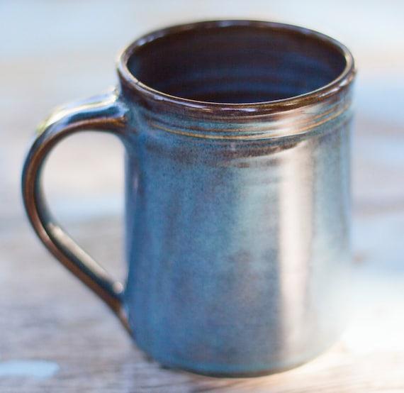 16 oz Handmade Ceramic Mug -- Twilight (Blue )-- Hand crafted pottery-- Large hand thrown coffee, cocoa mug. , Blue and Brown