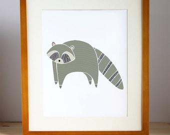 Raccoon Nursery Art, Woodland Raccoon Print, Raccoon Illustration, Raccoon Children's Decor, Woodland Animal Artwork, Woodland Decor