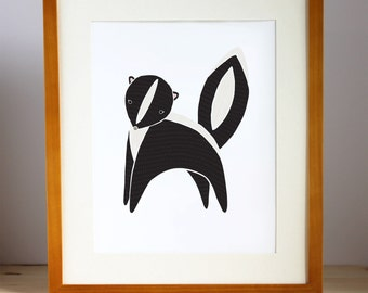 Skunk Wall Print, Skunk Wall Art, Woodland Skunk Illustration, Skunk Art Print, Skunk Nursery Art, Skunk Children's Decor, Skunk Art Print