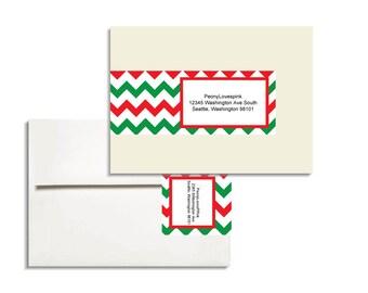 Holiday Chevron Envelope Wrap Printable Editable PDF
