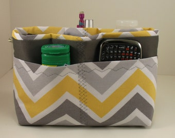 Purse Organizer Insert Yellow and Gray Chevron  - 5 sizes available - size small pictured